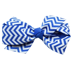 Mirage Pet Products Hair Bow Chevron Alligator Clip Blue