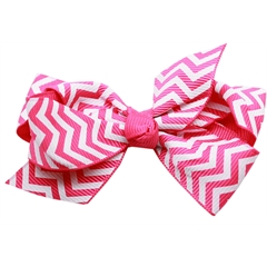 Mirage Pet Products Hair Bow Chevron French Barrette Bright Pink