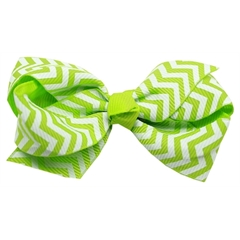Mirage Pet Products Hair Bow Chevron Alligator Clip Green
