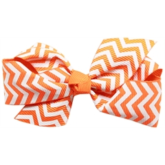 Mirage Pet Products Hair Bow Chevron Alligator Clip Orange