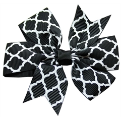 Mirage Pet Products Hair Bow Quatrefoil Alligator Clip Black