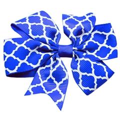 Mirage Pet Products Hair Bow Quatrefoil Alligator Clip Blue