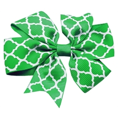 Mirage Pet Products Hair Bow Quatrefoil French Barrette Green