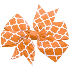 Mirage Pet Products Hair Bow Quatrefoil French Barrette Orange