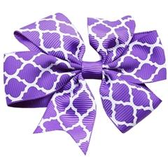 Mirage Pet Products Hair Bow Quatrefoil Alligator Clip Purple
