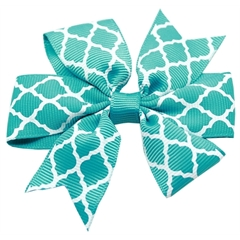 Mirage Pet Products Hair Bow Quatrefoil French Barrette Turquoise