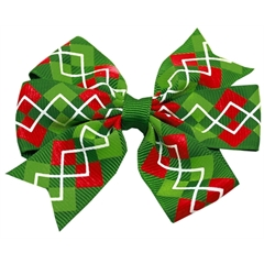 Mirage Pet Products Hair Bow Christmas Argyle French Barrette