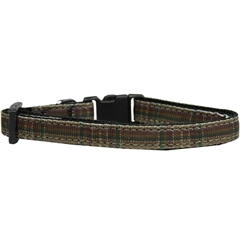 Mirage Pet Products Plaid Nylon Collar  Brown Cat Safety