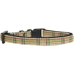Mirage Pet Products Plaid Nylon Collar  Khaki Cat Safety