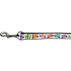 Mirage Pet Products Bright Owls Nylon Ribbon Pet Leash 1 inch wide 4ft Leash
