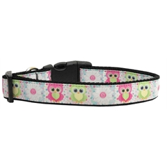 Mirage Pet Products Sweet as Sugar Owls Nylon Ribbon Collars Large