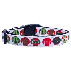 Mirage Pet Products Ugly Sweater Nylon Ribbon Collars Medium