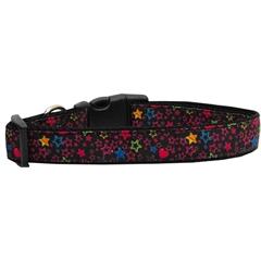 Mirage Pet Products Black Star Nylon Ribbon Collars Large
