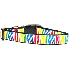 Mirage Pet Products Zebra Rainbow Nylon Ribbon Dog Collars Large