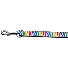 Mirage Pet Products Zebra Rainbow Nylon Ribbon Dog Collars 1 wide 4ft Leash