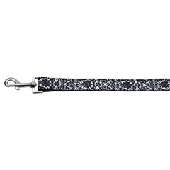 Mirage Pet Products Fancy Black and White Nylon Ribbon Dog Collars 1 wide 4ft Leash