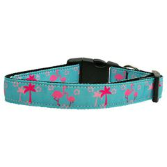 Mirage Pet Products Pink Flamingos Nylon Ribbon Dog Collars Large