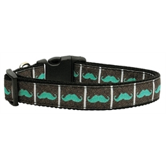 Mirage Pet Products Aqua Moustaches Ribbon Dog Collars Medium