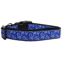 Mirage Pet Products Blue and White Swirly Nylon Ribbon Dog Collars Medium