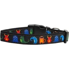 Mirage Pet Products Black Monsters Nylon Collar Medium