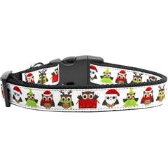 Mirage Pet Products Santa Owls Ribbon Dog Collars Medium