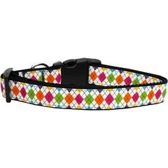 Mirage Pet Products Colorful Argyle Ribbon Dog Collars Medium
