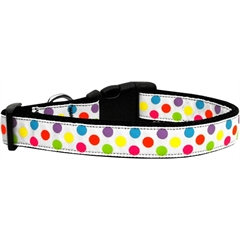 Mirage Pet Products White Multi-Dot Dog Collar Large