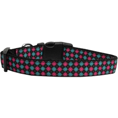 Mirage Pet Products Pink and Blue Plaid Dog Collar Medium