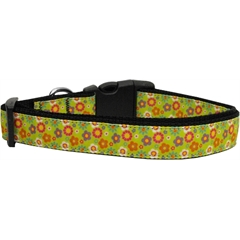 Mirage Pet Products Lime Spring Flowers Dog Collar Large