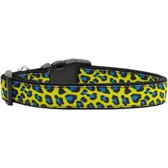 Mirage Pet Products Blue and Yellow Leopard Nylon Dog Collars Large