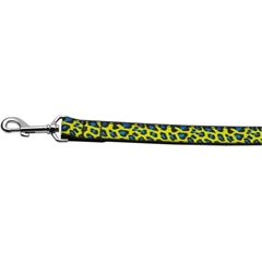 Mirage Pet Products Blue and Yellow Leopard Nylon Dog Leashes 4 Foot Leash
