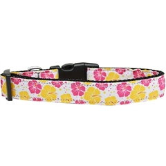 Mirage Pet Products Pink and Yellow Hibiscus Flower Nylon Dog Collar Large