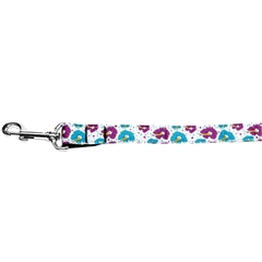 Mirage Pet Products Blue and Purple Hibiscus Flower Nylon Dog Leash 4 Foot