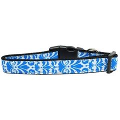 Mirage Pet Products Damask Nylon Dog Collar Medium Blue