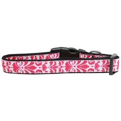 Mirage Pet Products Damask Nylon Dog Collar Medium Bright Pink