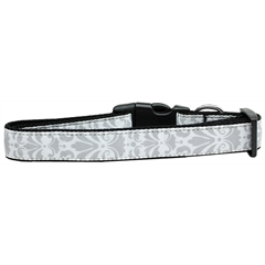 Mirage Pet Products Damask Nylon Dog Collar Medium Grey