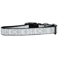 Mirage Pet Products Damask Nylon Dog Collar Large Grey