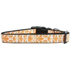 Mirage Pet Products Damask Nylon Dog Collar Large Orange