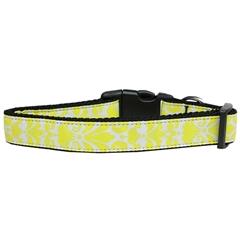 Mirage Pet Products Damask Nylon Dog Collar Medium Yellow