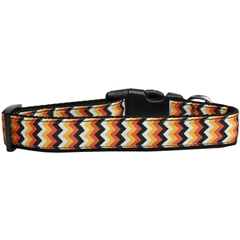 Mirage Pet Products Pumpkin Chevrons Nylon Dog Collar Large