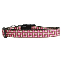 Mirage Pet Products Pink Checkers Nylon Dog Collar Large