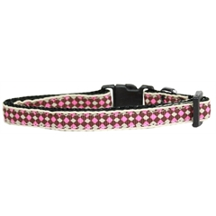 Mirage Pet Products Pink Checkers Nylon Collar Cat Safety