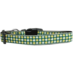 Mirage Pet Products Green Checkers Nylon Dog Collar Large