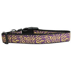 Mirage Pet Products Purple and Yellow Tiger Stripes Nylon Dog Collar Medium
