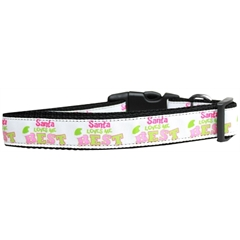 Mirage Pet Products Santa Loves Me Best Nylon Dog Collar Large