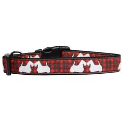 Mirage Pet Products Red Plaid Scottie Pups Nylon Dog Collar Medium