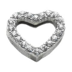 """Mirage Pet Products 3/4"""" Slider Heart Charm Clear 3/4"""" (18mm)"""