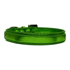 "Mirage Pet Products 3/4"" (18mm) Metallic Two-Tier Collar  Emerald Green Medium"