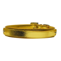"Mirage Pet Products 3/4"" (18mm) Metallic Two-Tier Collar  Gold Medium"