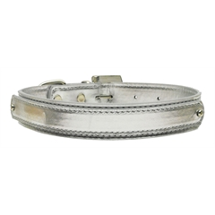 "Mirage Pet Products 3/4"" (18mm) Metallic Two-Tier Collar  Silver Large"